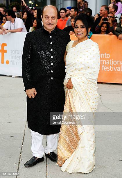 Actress Seema Biswas and Anupam Kher arrive at the 'Midnight's Children' Premiere at the 2012 Toronto International Film Festival at Roy Thomson Hall...