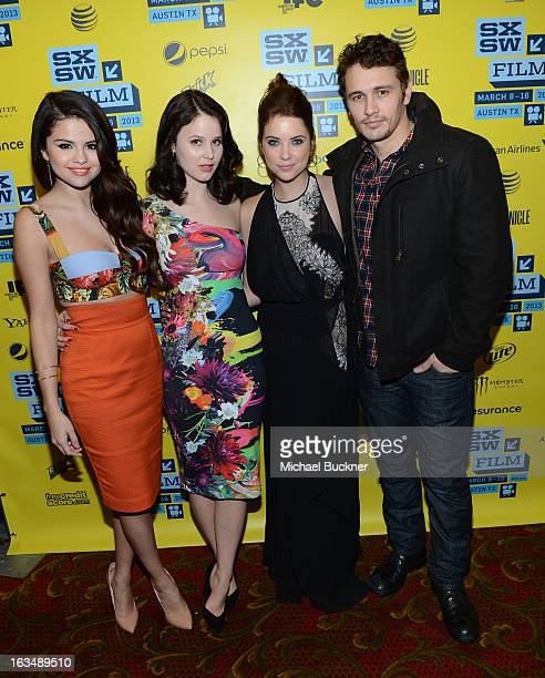 Actress Selena Gomez actress Rachel Korine actress Ashley Benson and actor James Franco attend the green room for Spring Breakers during the 2013...