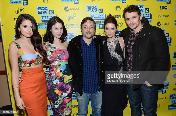 Actress Selena Gomez actress Rachel Korine director Harmony Korine actress Ashley Benson and actor James Franco attend the green room for 'Spring...