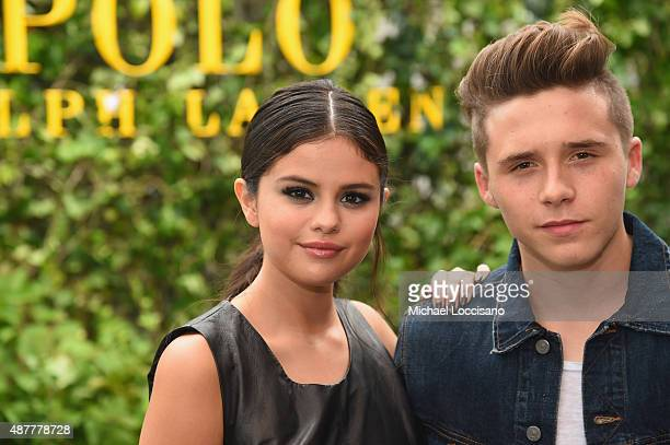 Actress Selena Gomez and Brooklyn Beckham attend the Polo Ralph Lauren fashion show during Spring 2016 New York Fashion Week at Gallow Green at the...