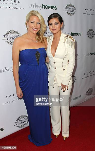 Actress Selena Gomez and Erica Greve Founder of Annual Unlikely Heroes attend the 3rd Annual Unlikely Heroes Awards Dinner and Gala at Sofitel Hotel...