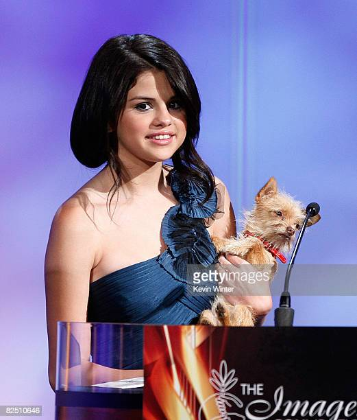 Actress Selena Gomez appears onstage at the 23rd Annual Imagen Awards at the Beverly Hilton Hotel on August 23 2008 in Beverly Hills California