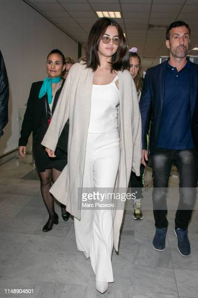 Actress Selena Gomez arrives ahead the 72nd annual Cannes Film Festival at Nice Airport on May 13, 2019 in Nice, France.