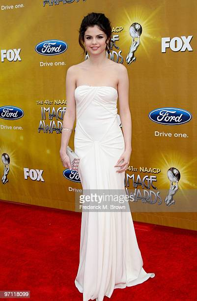 Actress Selena Gomez arrives at the 41st NAACP Image awards held at The Shrine Auditorium on February 26 2010 in Los Angeles California