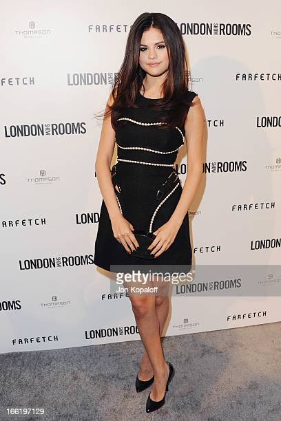 Actress Selena Gomez arrives at the British Fashion Council Celebrates 'London Show Rooms LA' at Thompson Hotel on April 9 2013 in Beverly Hills...