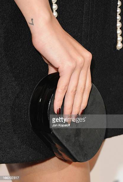 Actress Selena Gomez arrives at the British Fashion Council Celebrates London Show Rooms LA at Thompson Hotel on April 9 2013 in Beverly Hills...