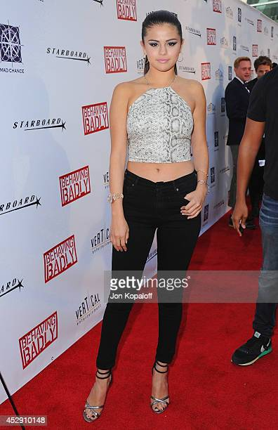 Actress Selena Gomez arrives at the Los Angeles Premiere 'Behaving Badly' at ArcLight Hollywood on July 29 2014 in Hollywood California
