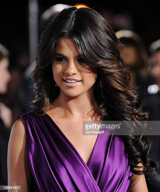 Actress Selena Gomez arrives at the Los Angeles Premiere Justin Bieber Never Say Never at Nokia Theatre LA Live on February 8 2011 in Los Angeles...