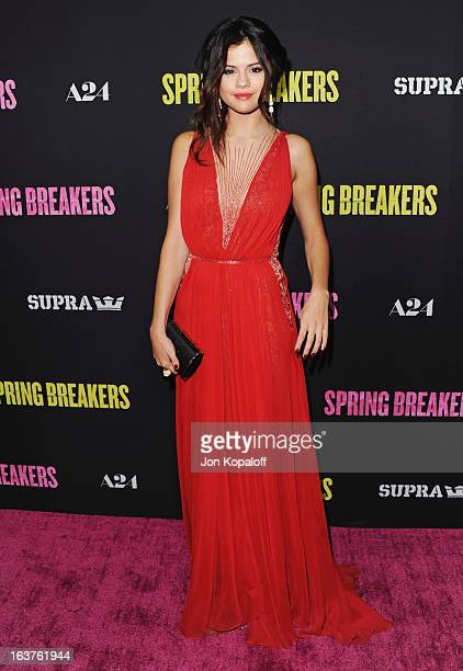 Actress Selena Gomez arrives at the Los Angeles Premiere Spring Breakers at ArcLight Hollywood on March 14 2013 in Hollywood California