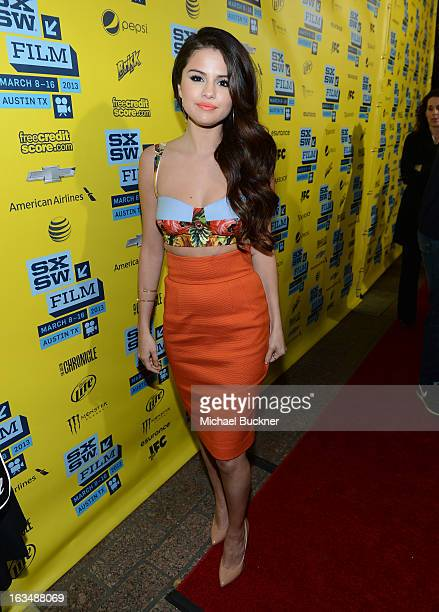 Actress Selena Gomez arrives at the premiere of 'Spring Breakers' during the 2013 SXSW Music Film Interactive Festival at Paramount Theatre on March...