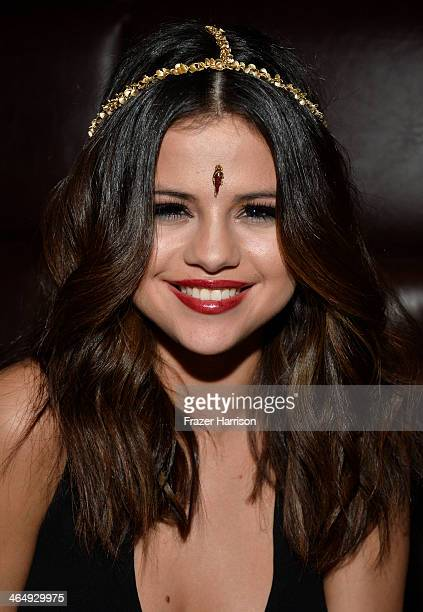 Actress Selena Gomez attends Beats Music Launch Party At Belasco Theatre at Belasco Theatre on January 24 2014 in Los Angeles California