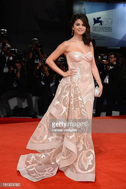 Actress Selena Gomez attends 'Spring Breakers' Premiere during The 69th Venice Film Festival at the Palazzo del Cinema on September 5 2012 in Venice...