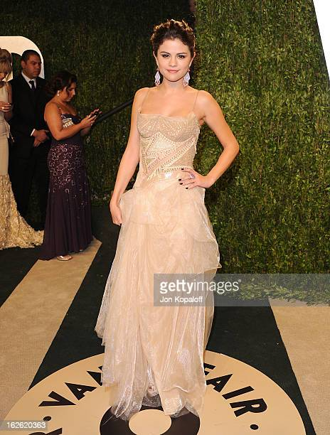 Actress Selena Gomez attends the 2013 Vanity Fair Oscar party at Sunset Tower on February 24 2013 in West Hollywood California