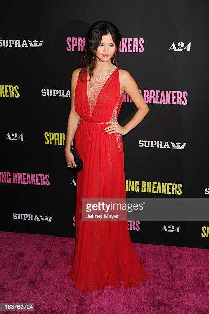 Actress Selena Gomez attends the 'Spring Breakers' Los Angeles Premiere at ArcLight Hollywood on March 14 2013 in Hollywood California