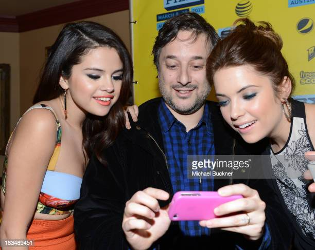 Actress Selena Gomez director Harmony Korine and actress Ashley Benson attend the green room for 'Spring Breakers' during the 2013 SXSW Music Film...