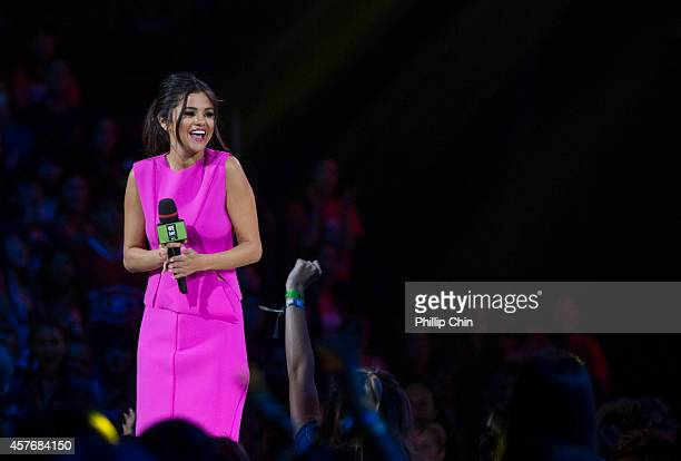 """Actress Selena Gomez host """"We Day Vancouver"""" at Rogers Arena on October 22, 2014 in Vancouver, Canada."""
