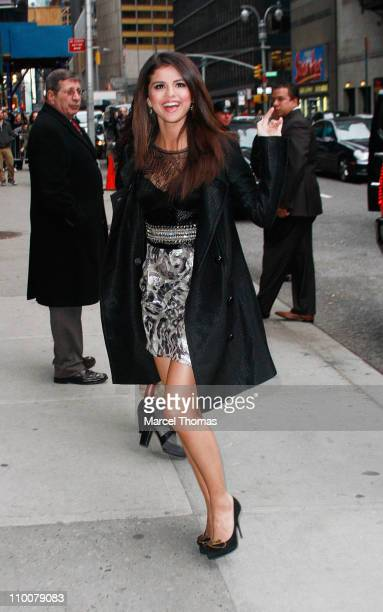 """Actress Selena Gomez is seen arriving at """"Late Show With David Letterman"""" at the Ed Sullivan Theater on March 14, 2011 in New York City."""