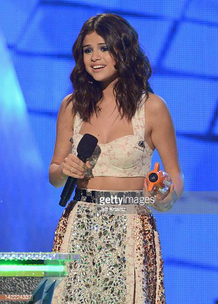 Actress Selena Gomez onstage at the 2012 Nickelodeon's Kids' Choice Awards at Galen Center on March 31 2012 in Los Angeles California