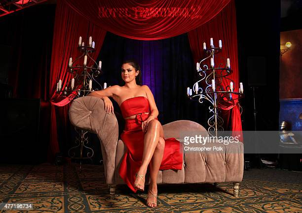 Actress Selena Gomez poses for a portrait during the Hotel Transylvania 2 photo shoot during Summer Of Sony Pictures Entertainment 2015 at The...