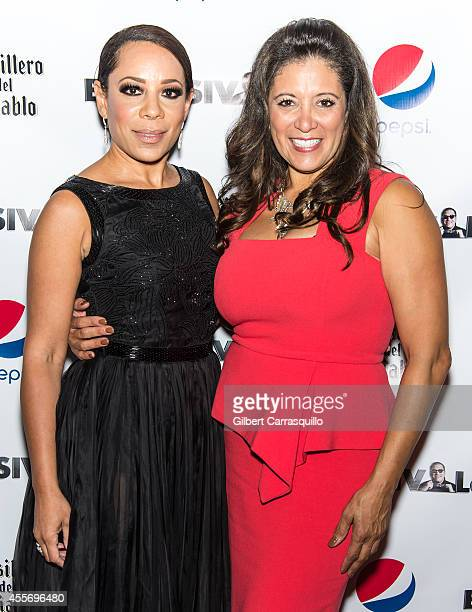 Actress Selenis Levya and Publisher Iliana Gilbert attend the New York Launch party for Exclusivleecom at Stray Kat Gallery on September 18 2014 in...