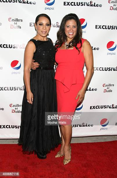 Actress Selenis Levya and Publisher Iliana Guibert attends the Exclusivleecom Launch Party>> at Stray Kat Gallery on September 18 2014 in New York...