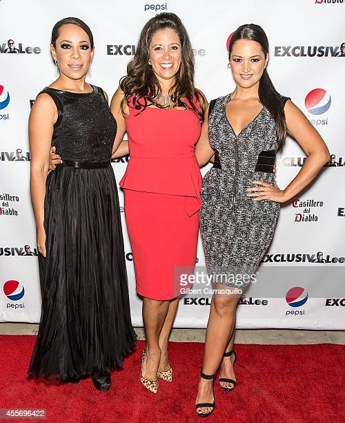 Actress Selenis Levya, Publisher Iliana Gilbert and Actress Paula Garces attend the New York Launch party for Exclusivlee.com at Stray Kat Gallery on...