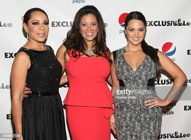 Actress Selenis Levya Publisher Iliana Guibert and Actress Paula Garces attends the Exclusivleecom Launch Party>> at Stray Kat Gallery on September...