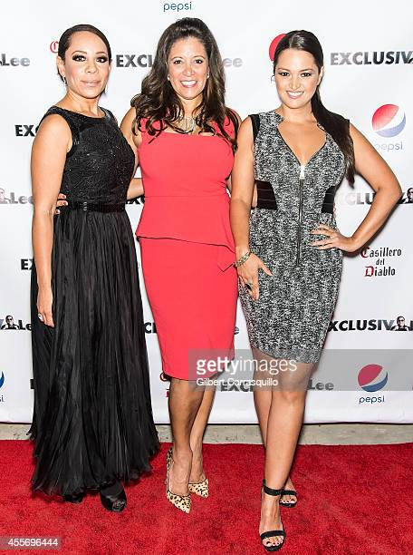 Actress Selenis Levya, Publisher Iliana Guibert and Actress Paula Garces attend the New York Launch party for Exclusivlee.com at Stray Kat Gallery on...