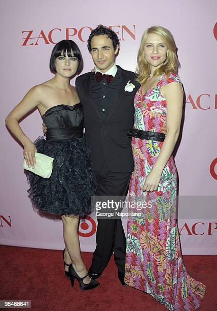 Actress Selma Blair, designer Zac Posen and actress Claire Danes attend the Zac Posen for Target Collection launch party at the New Yorker Hotel on...