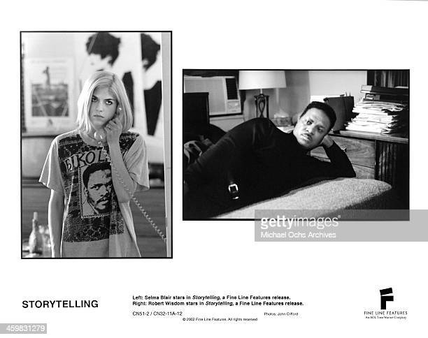 "Actress Selma Blair on set actor Robert Wisdom on set of the movie ""Storytelling"" , circa 2001."