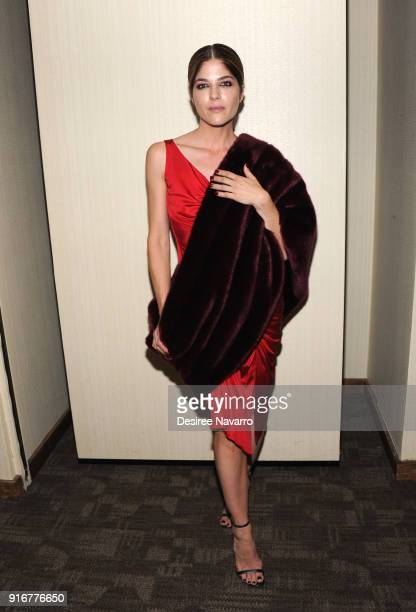 Actress Selma Blair poses backstage for the Christian Siriano fashion show during New York Fashion Week at the Grand Lodge on February 10 2018 in New...
