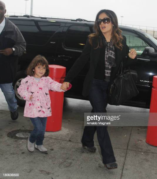 Actress Selma Hayek and daughter Valentina Paloma Pinault sighting on October 27 2011 in New York City