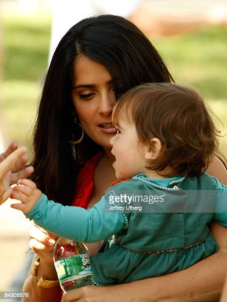 Actress Selma Hayek and her baby Valentina filming on location for '30 Rock' on October 10 2008 in New York City