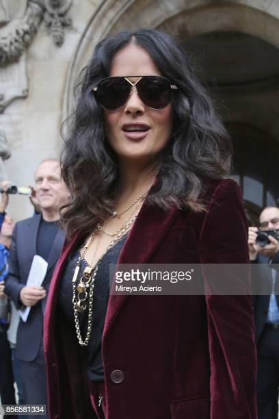 Actress Selma Hayek attends the Stella McCartney show as part of the Paris Fashion Week Womenswear Spring/Summer 2018 on October 2 2017 in Paris...