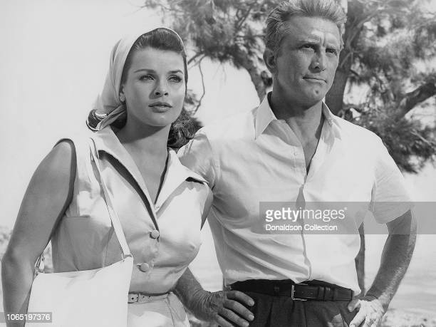 Actress Senta Berger and Kirk Douglas in a scene from the movie Cast a Giant Shadow