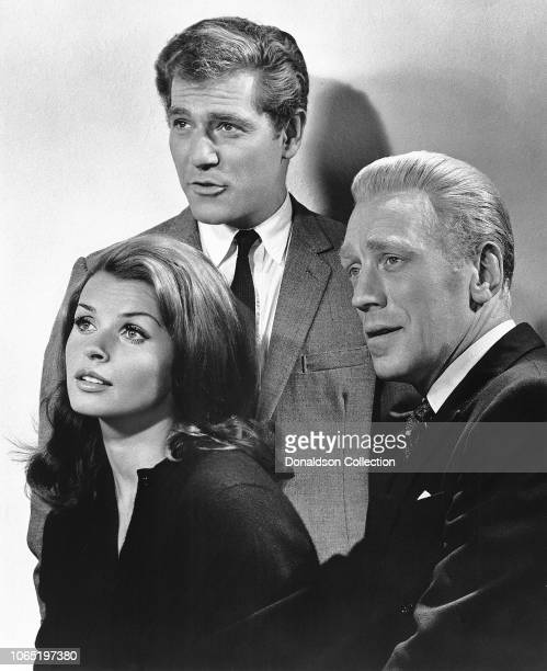 Actress Senta Berger George Segal and Max Von Sydow in a scene from the movie The Quiller Memorandum