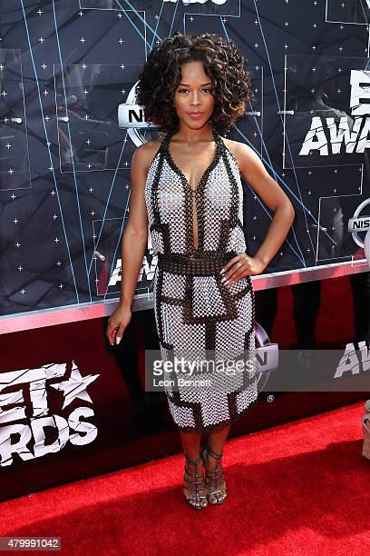Actress Serayah arrived at the BET & Make A Wish Foundation Recipients BET Experience At LA. Live Red Carpet arrivals - Weekend Events on June 28,...