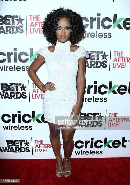 Actress Serayah attends the Cricket green lounge during the 2015 BET Awards at the Microsoft Theater on June 28 2015 in Los Angeles California