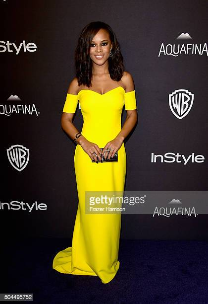 Actress Serayah McNeill attends InStyle and Warner Bros 73rd Annual Golden Globe Awards PostParty at The Beverly Hilton Hotel on January 10 2016 in...