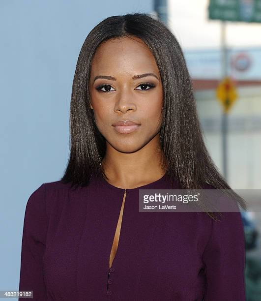 Actress Serayah McNeill attends the BCBG Max Azria Resort 2016 collections at Samuel Freeman Gallery on August 6 2015 in Los Angeles California