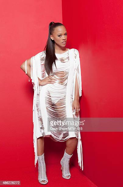 Actress Serayah McNeill is photographed at the 2015 MTV VMA Awards on August 30 2015 at the Microsoft Theater in Los Angeles California