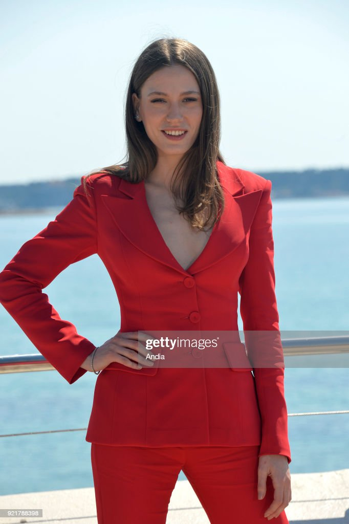 Actress Serenay Sarikaya posing for a photocall on the occasion of the MipTV, International Television Programme Market, in Cannes (south-eastern France) on .