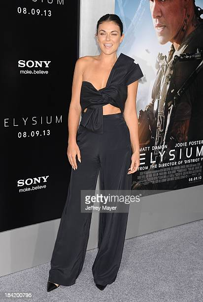 Actress Serinda Swan arrives at the Los Angeles premiere of 'Elysium' at Regency Village Theatre on August 7 2013 in Westwood California