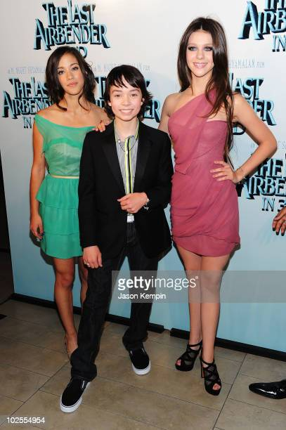 Actress Seychelle Gabriel actor Noah Ringer and actress Nicola Peltz attend the premiere of 'The Last Airbender' at Alice Tully Hall on June 30 2010...