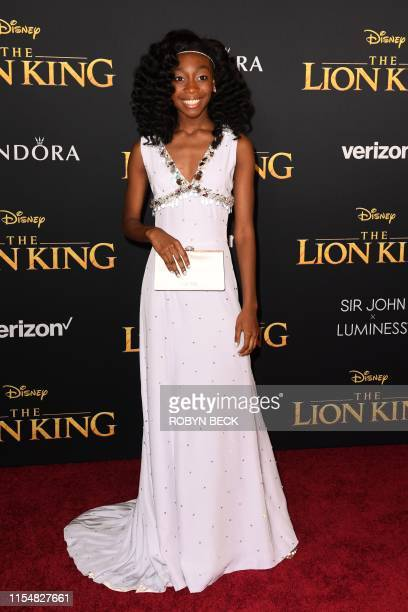 US actress Shahadi Wright Joseph arrives for the world premiere of Disney's The Lion King at the Dolby theatre on July 9 2019 in Hollywood