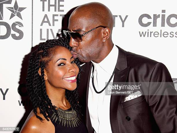 Actress Shahidah Omar and actor JB Smoove attend the BET Awards post show in the Cricket Lounge after the 2016 BET Awards on June 26 2016 in Los...