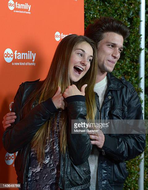 Actress Shailene Woodley and actor Daren Kagasoff arrive at the ABC Family West Coast Upfronts party at The Sayers Club on May 1 2012 in Hollywood...
