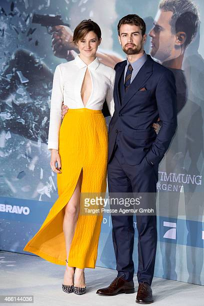 Actress Shailene Woodley and actor Theo James attend the German Premiere of 'Die Bestimmung Insurgent' at CineStar on March 13 2015 in Berlin Germany