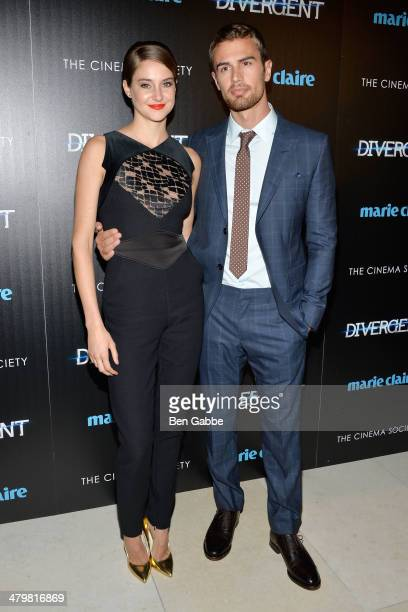 "Actress Shailene Woodley and actor Theo James attend the Marie Claire & The Cinema Society screening of Summit Entertainment's ""Divergent"" at Hearst..."