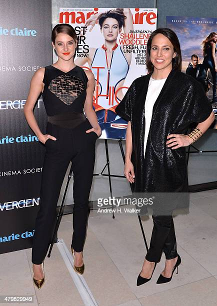 Actress Shailene Woodley and Marie Claire EditorinChief Anne Fulenwide attends the Marie Claire The Cinema Society screening of Summit...